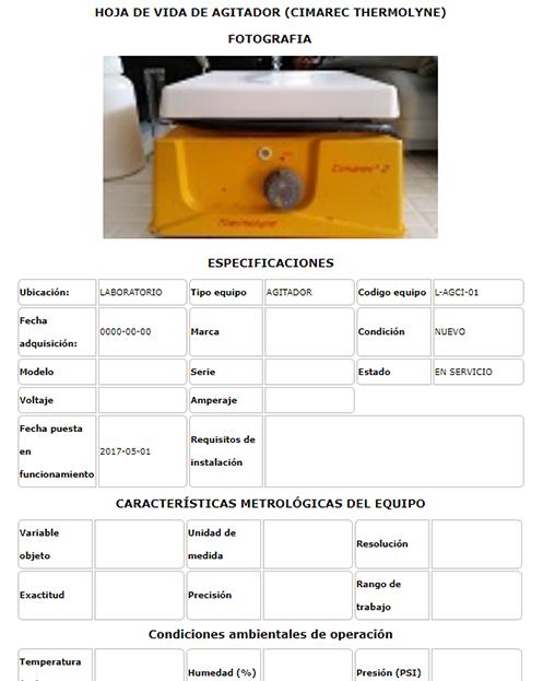 Equipos Hoja de vidacp17025